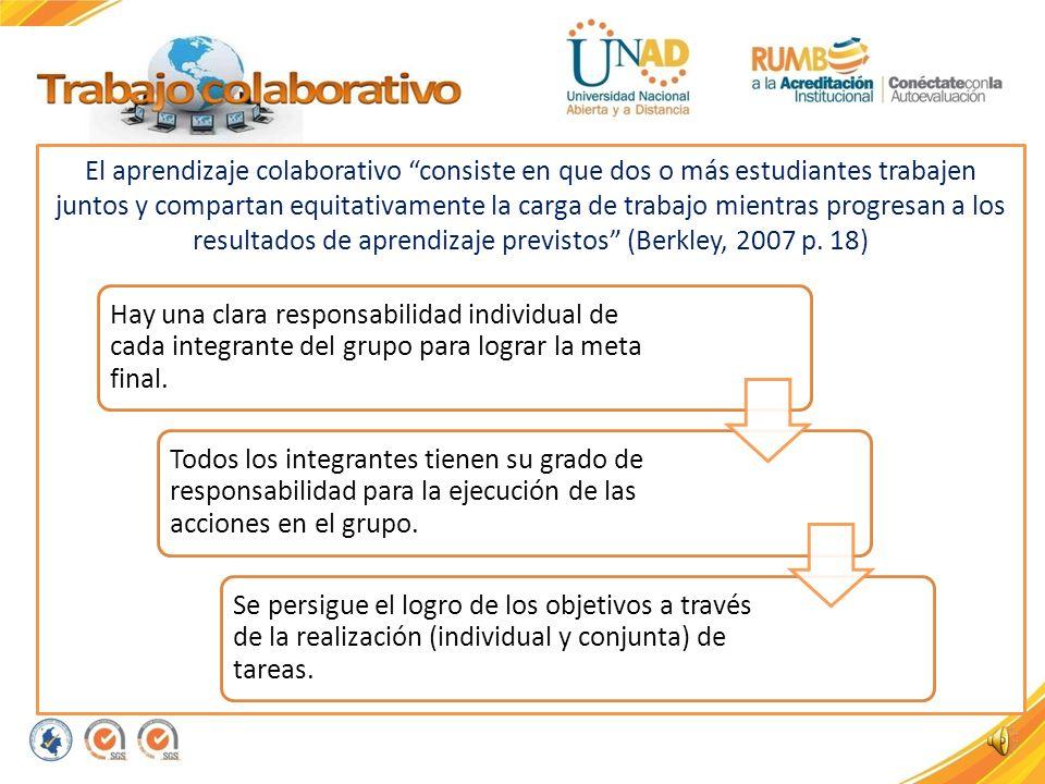 El aprendizaje colaborativo consiste en que dos o más estudiantes trabajen juntos y compartan equitativamente la carga de trabajo mientras progresan a los resultados de aprendizaje previstos (Berkley, 2007 p. 18)