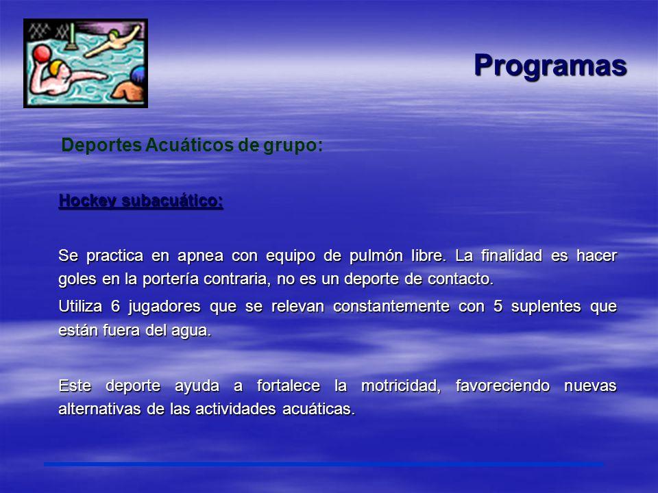 Programas Deportes Acuáticos de grupo: Hockey subacuático: