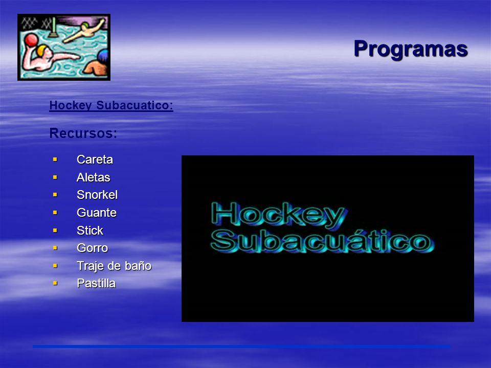 Programas Recursos: Hockey Subacuatico: Careta Aletas Snorkel Guante
