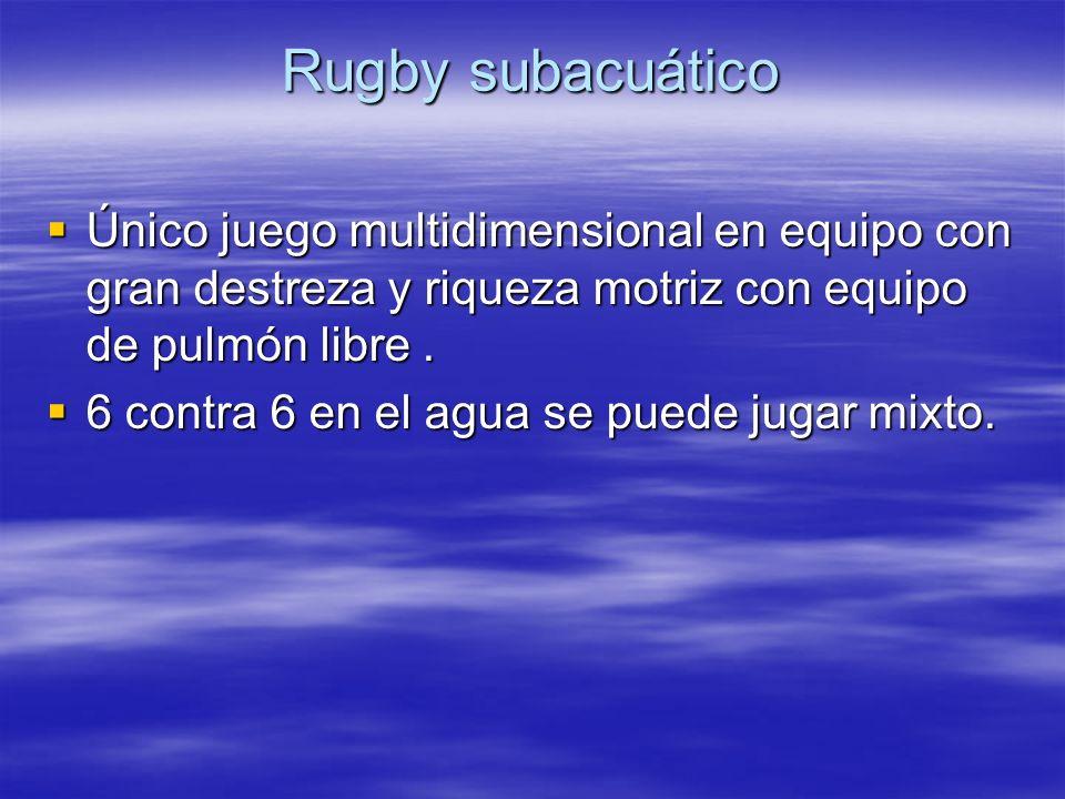 Rugby subacuático Único juego multidimensional en equipo con gran destreza y riqueza motriz con equipo de pulmón libre .