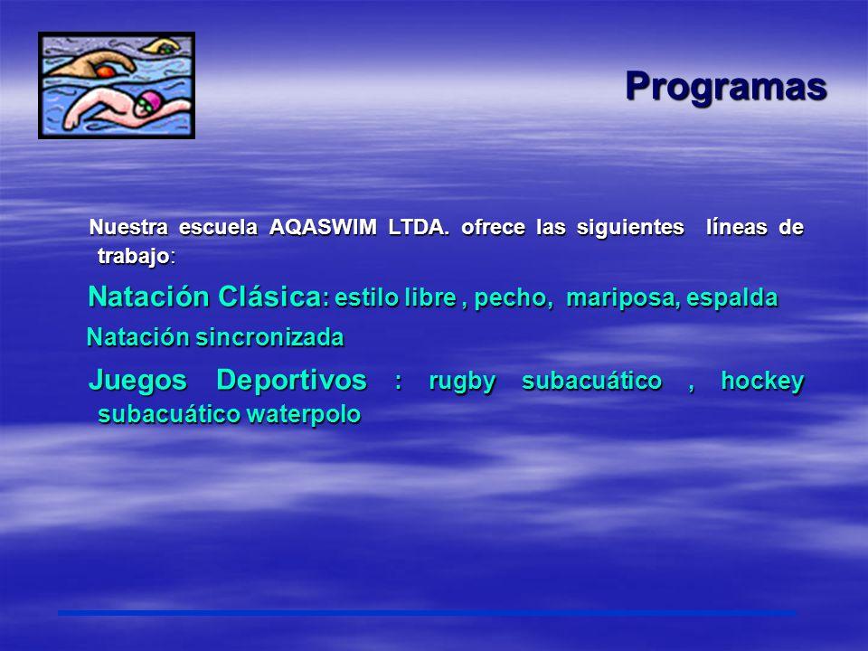 Programas Natación Clásica: estilo libre , pecho, mariposa, espalda