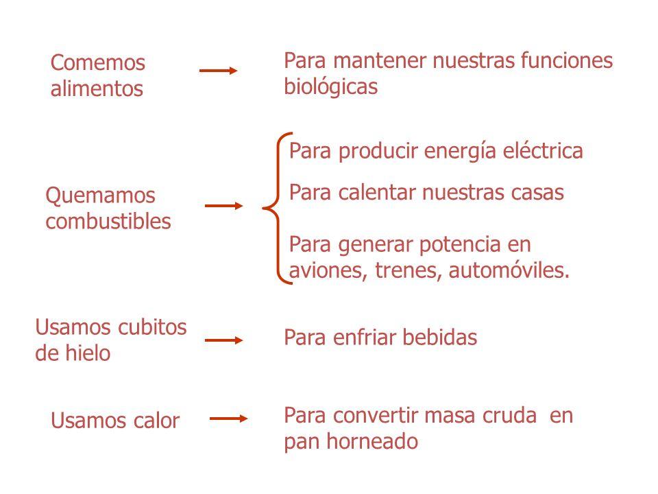 Comemos alimentos Para mantener nuestras funciones biológicas. Para producir energía eléctrica. Quemamos combustibles.