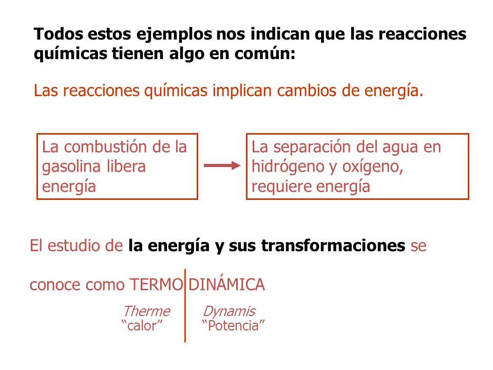 Las reacciones químicas implican cambios de energía.