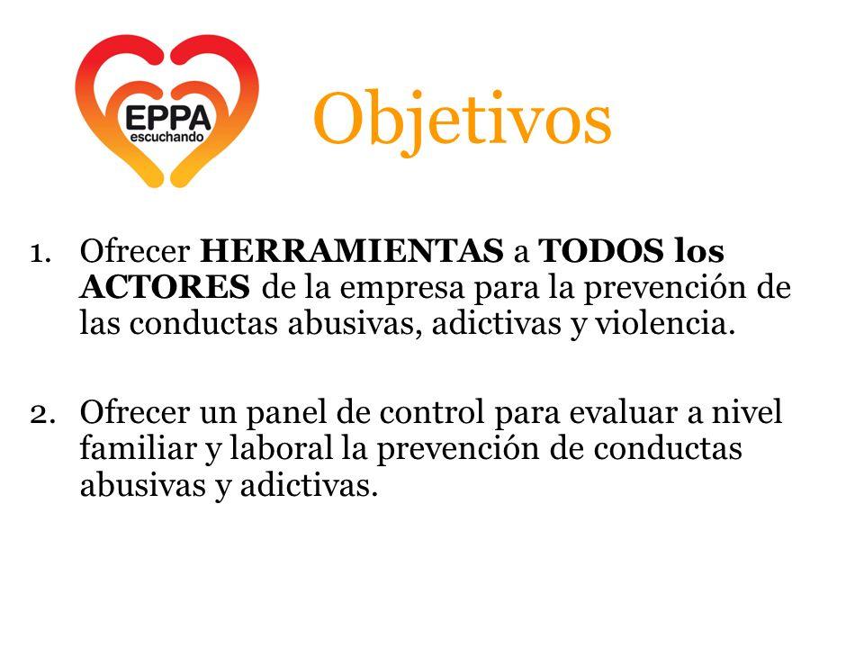 Objetivos Ofrecer HERRAMIENTAS a TODOS los ACTORES de la empresa para la prevención de las conductas abusivas, adictivas y violencia.