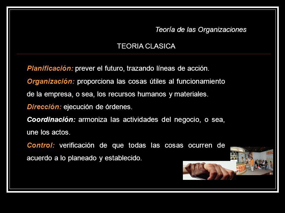 TEORIA CLASICA Planificación: prever el futuro, trazando líneas de acción.