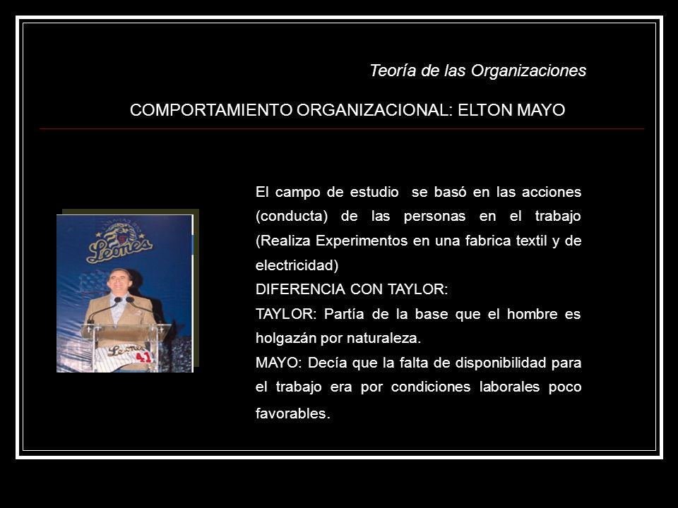 COMPORTAMIENTO ORGANIZACIONAL: ELTON MAYO