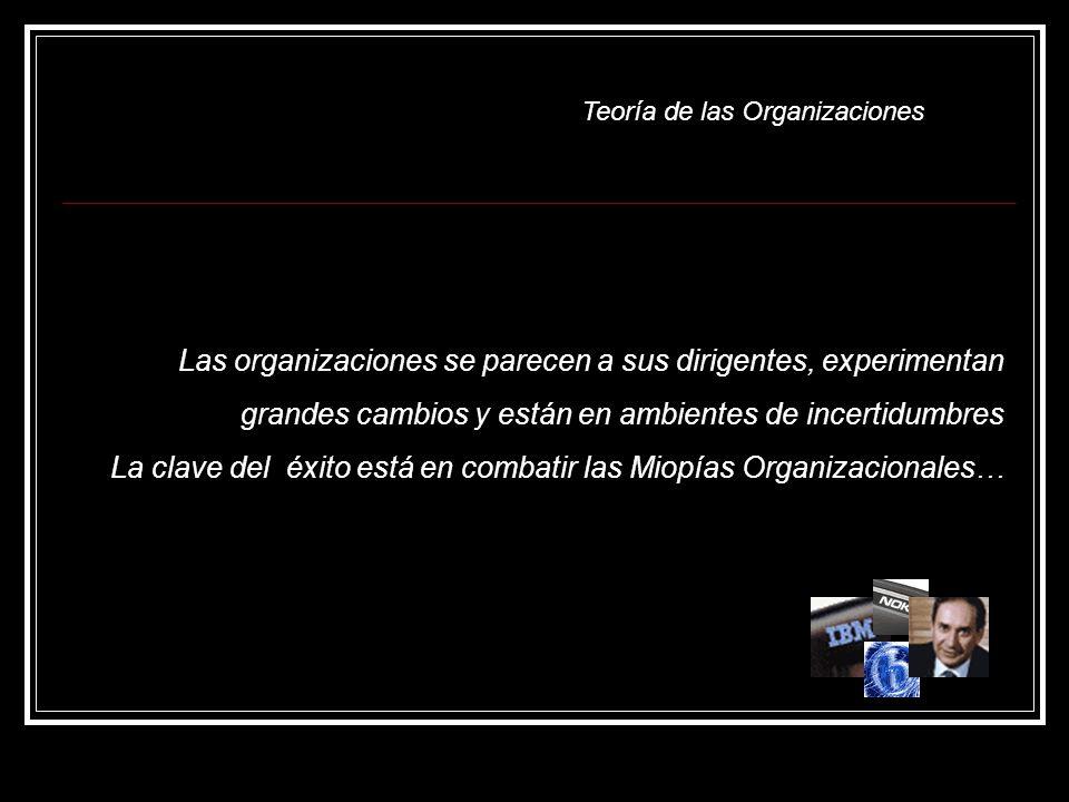 Las organizaciones se parecen a sus dirigentes, experimentan grandes cambios y están en ambientes de incertidumbres