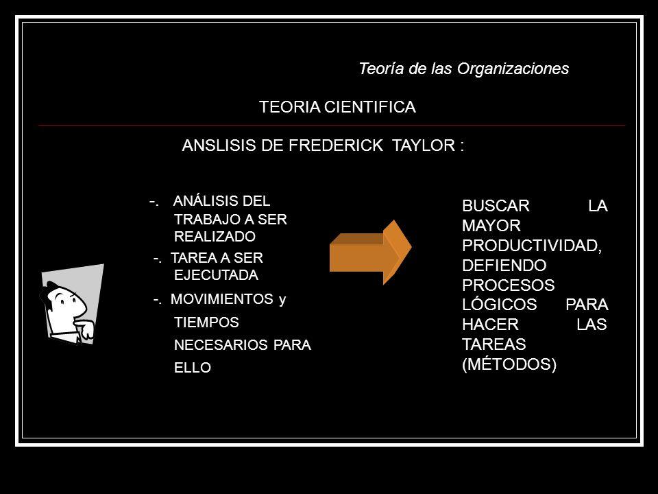 ANSLISIS DE FREDERICK TAYLOR :