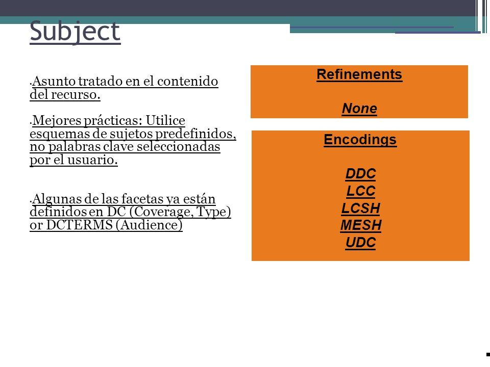 Subject Refinements None Encodings DDC LCC LCSH MESH UDC