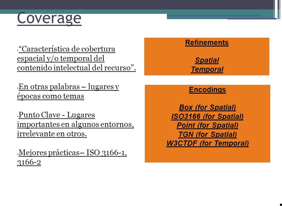 CoverageRefinements. Spatial. Temporal. Característica de cobertura espacial y/o temporal del contenido intelectual del recurso .