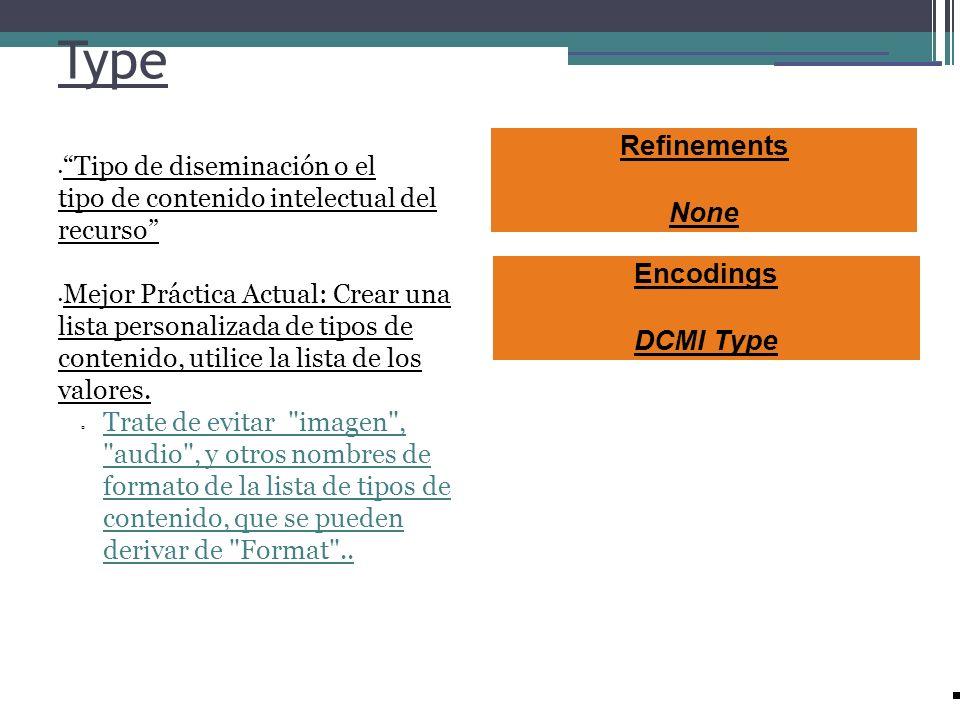 Type Refinements None Encodings DCMI Type Tipo de diseminación o el