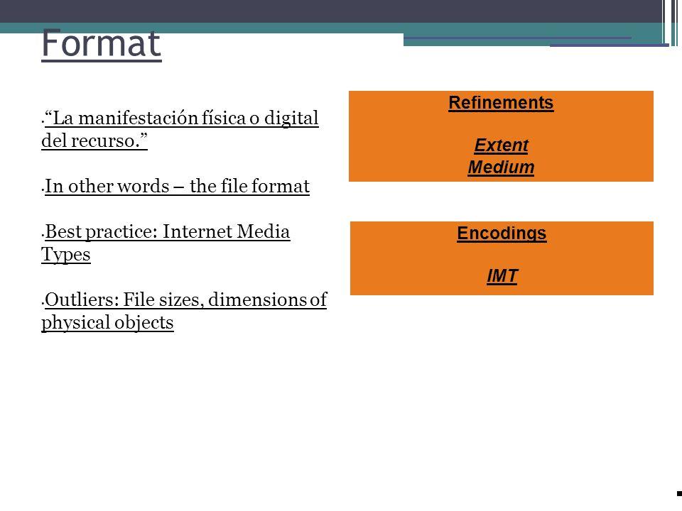 Format La manifestación física o digital del recurso.