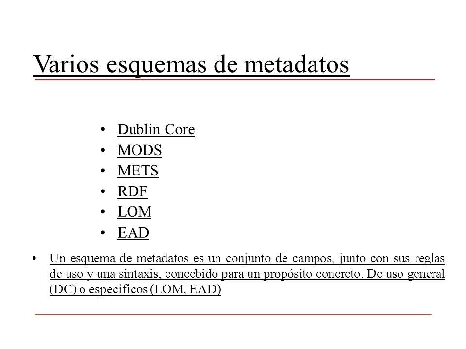 Varios esquemas de metadatos