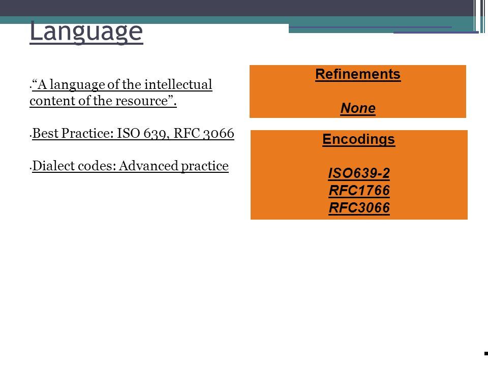 Language Refinements None Encodings ISO639-2 RFC1766 RFC3066