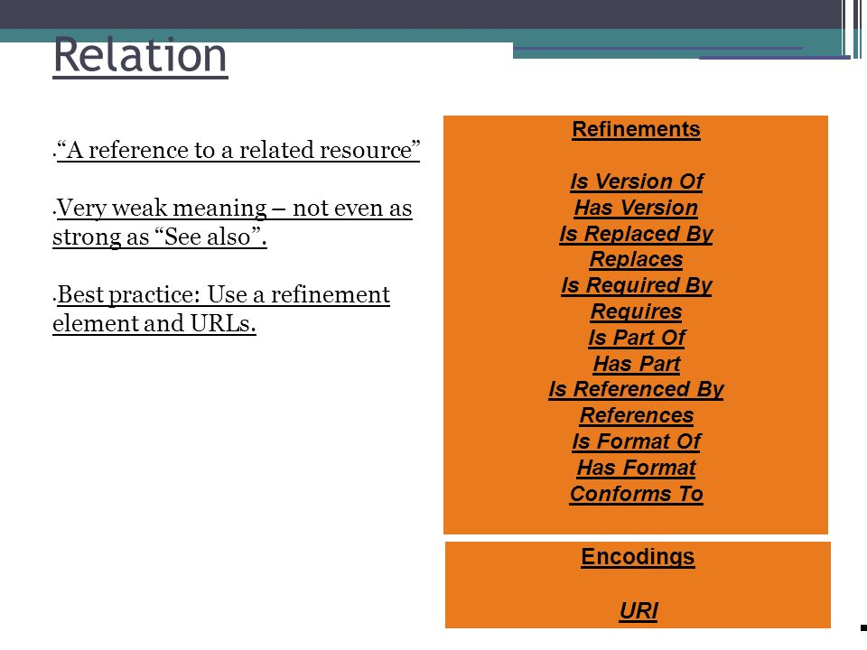 Relation A reference to a related resource