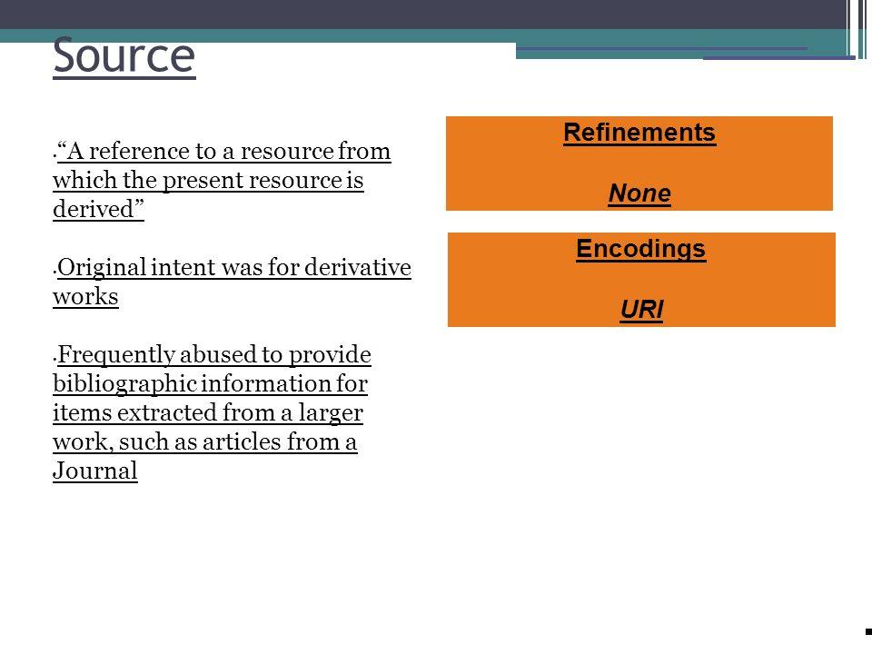 Source Refinements None Encodings URI