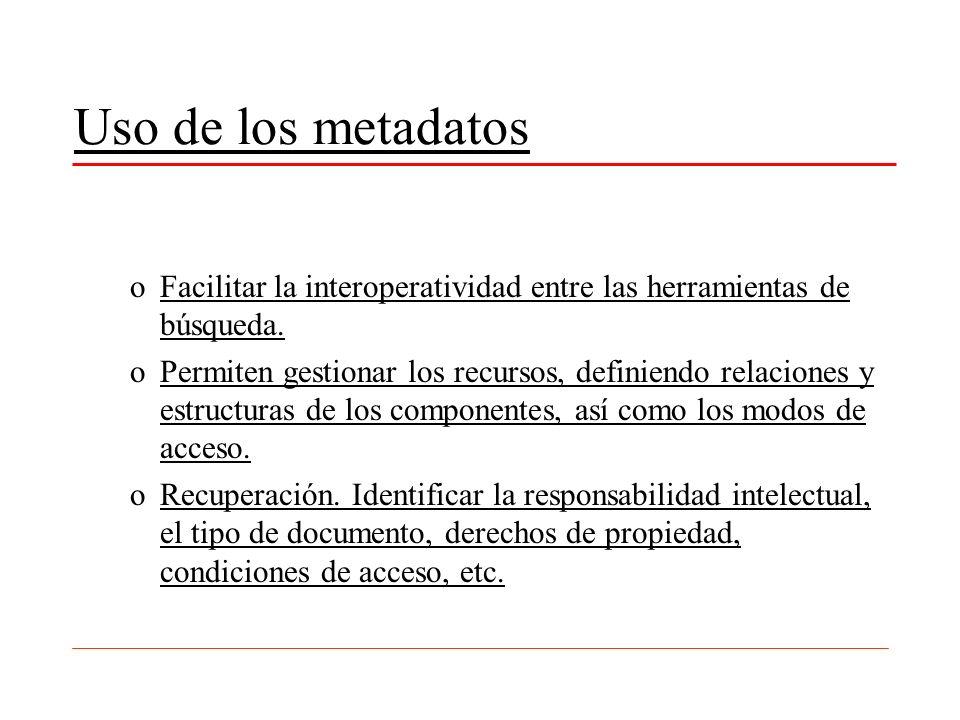 Uso de los metadatos Facilitar la interoperatividad entre las herramientas de búsqueda.