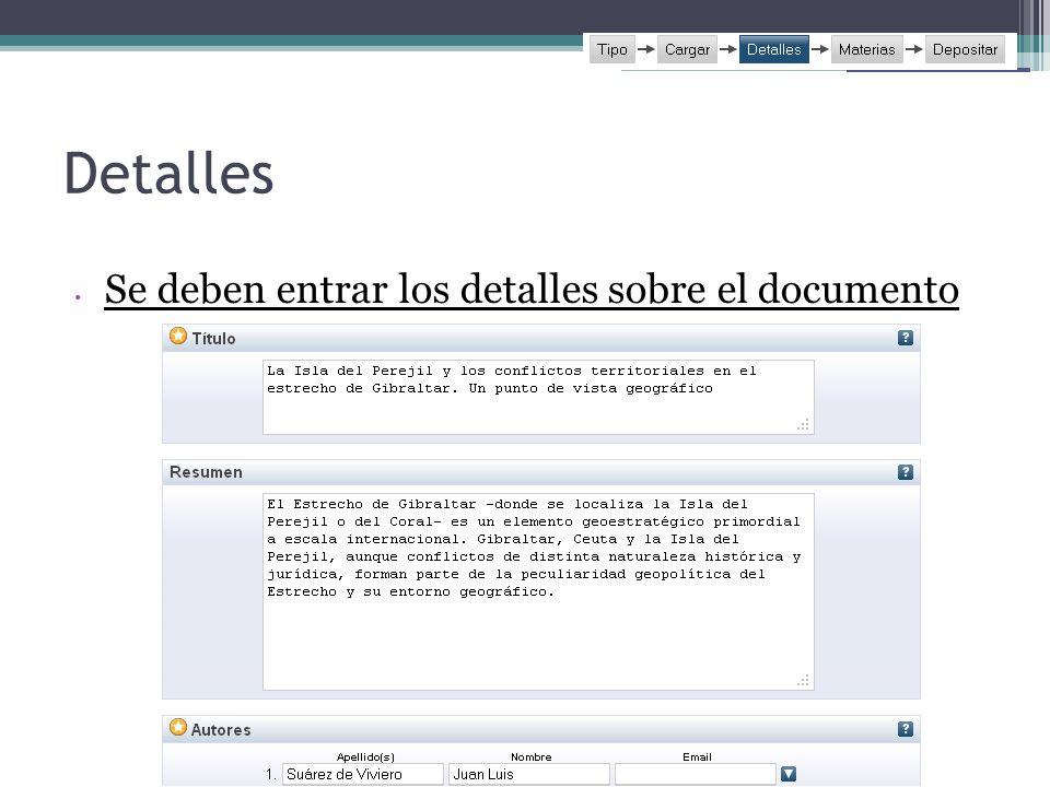 Detalles Se deben entrar los detalles sobre el documento 5353