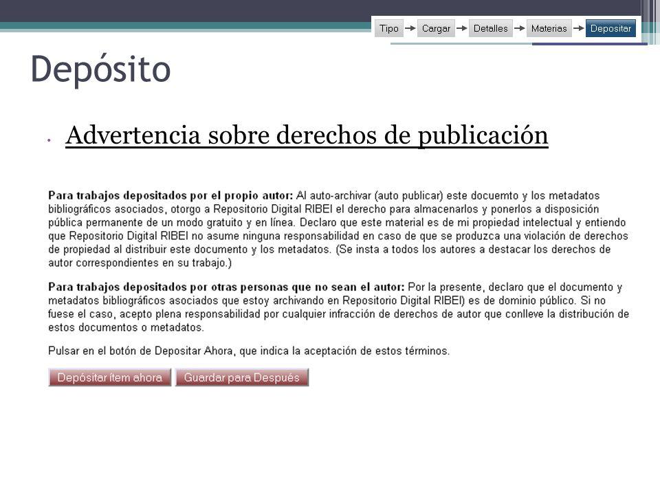 Depósito Advertencia sobre derechos de publicación 5656