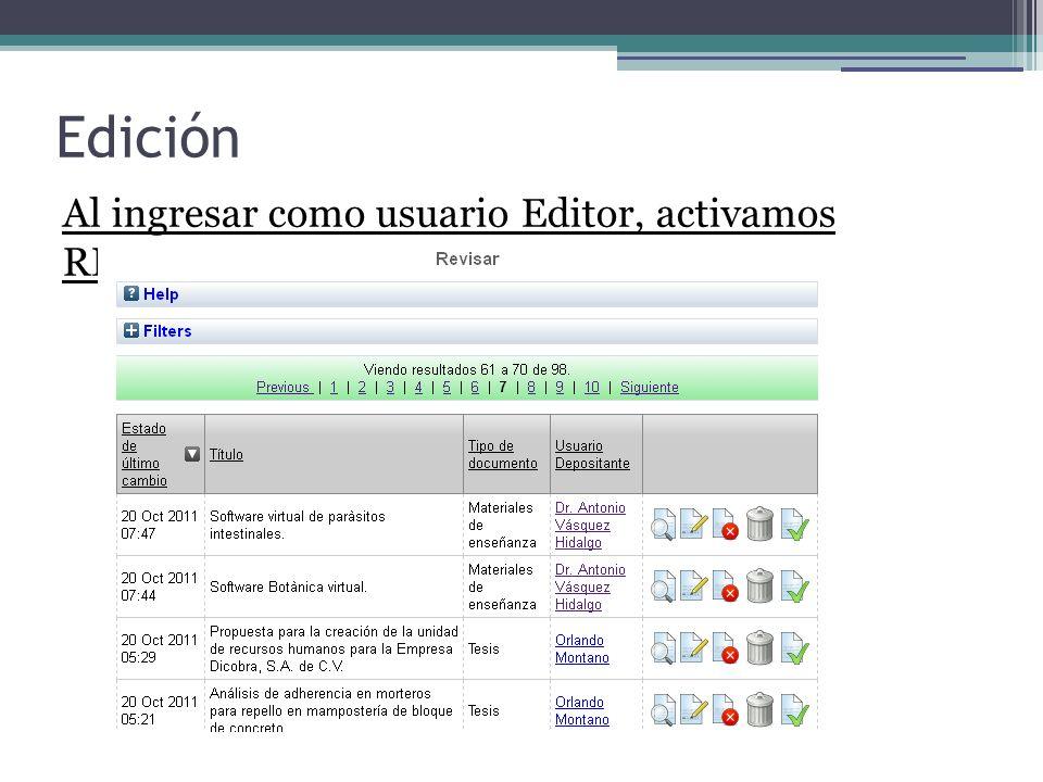 Edición Al ingresar como usuario Editor, activamos REVISAR 5858