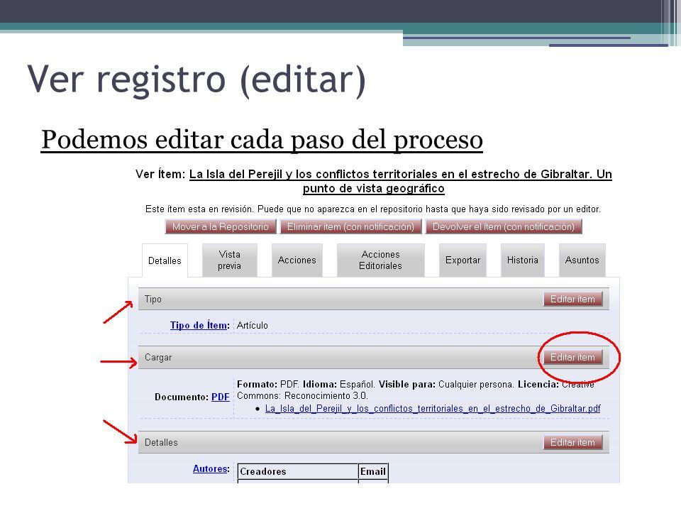 Ver registro (editar) Podemos editar cada paso del proceso 5959