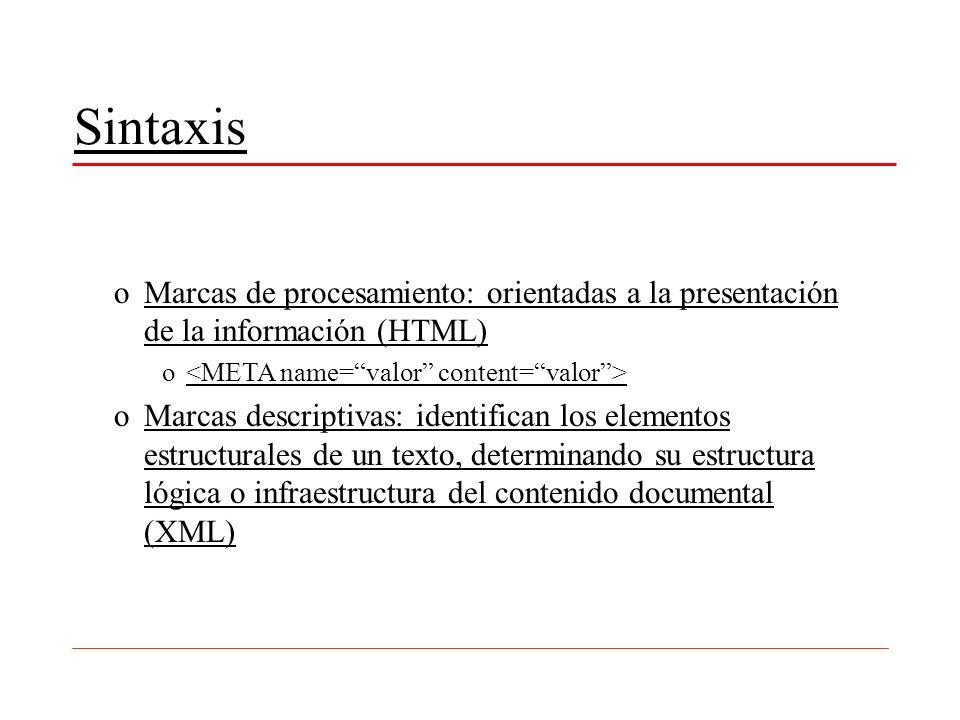 SintaxisMarcas de procesamiento: orientadas a la presentación de la información (HTML) <META name= valor content= valor >