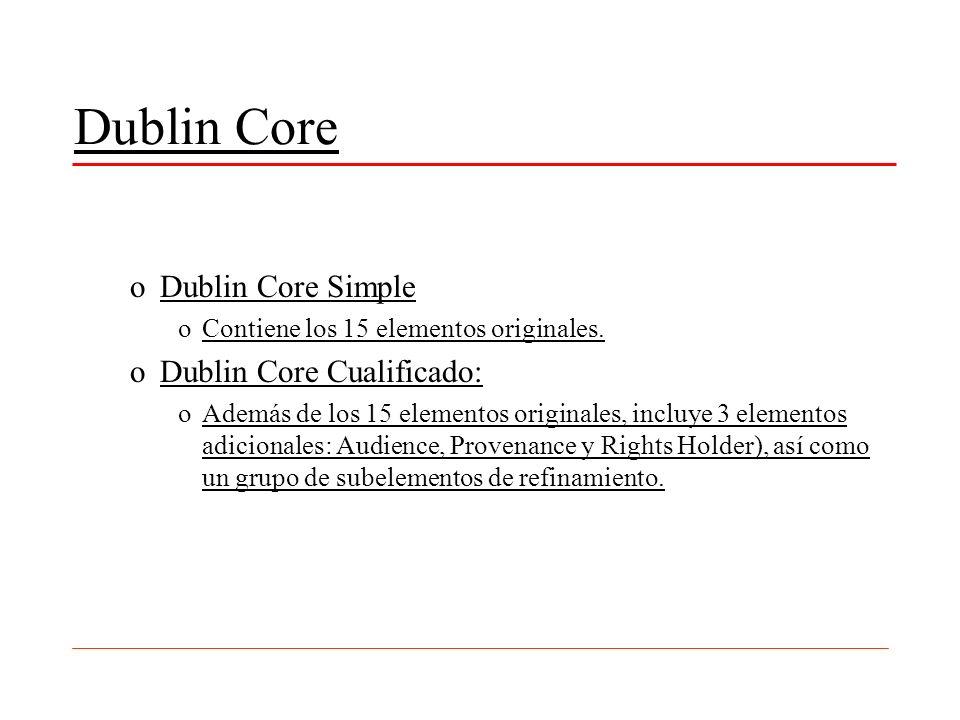 Dublin Core Dublin Core Simple Dublin Core Cualificado: