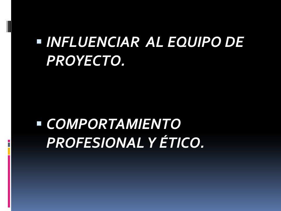 INFLUENCIAR AL EQUIPO DE PROYECTO.