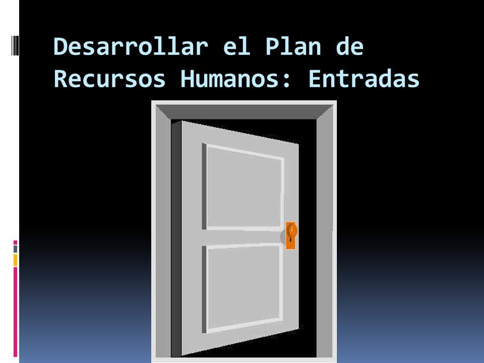 Desarrollar el Plan de Recursos Humanos: Entradas
