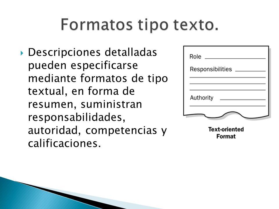 Formatos tipo texto.