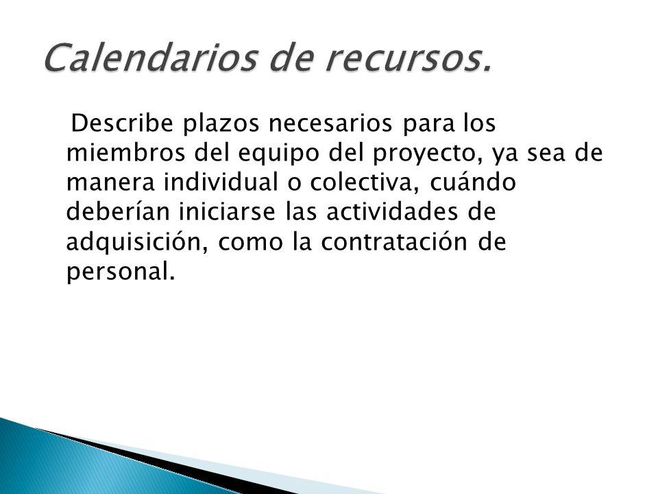Calendarios de recursos.