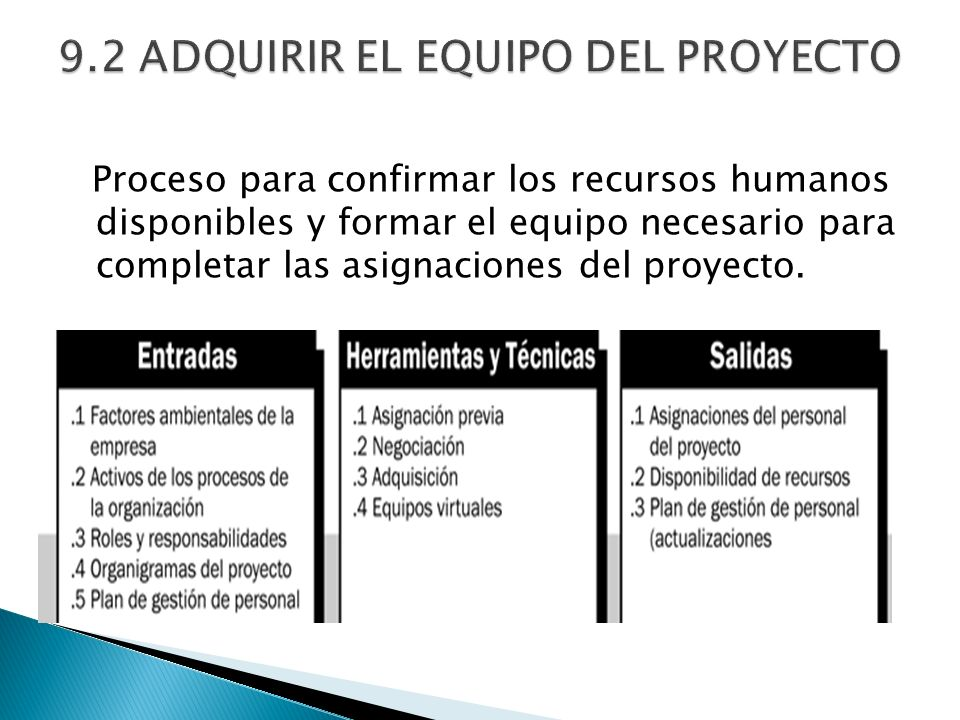 9.2 ADQUIRIR EL EQUIPO DEL PROYECTO
