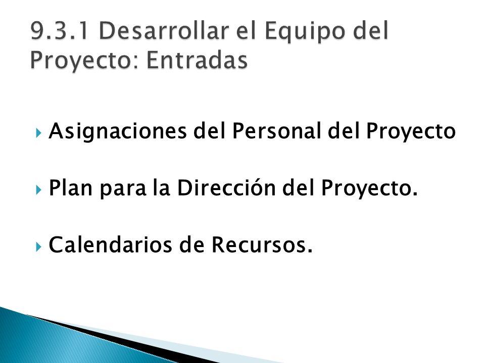9.3.1 Desarrollar el Equipo del Proyecto: Entradas
