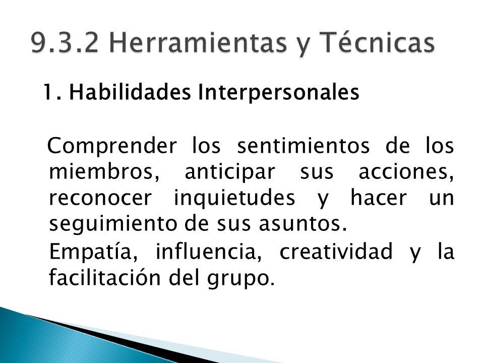 9.3.2 Herramientas y Técnicas
