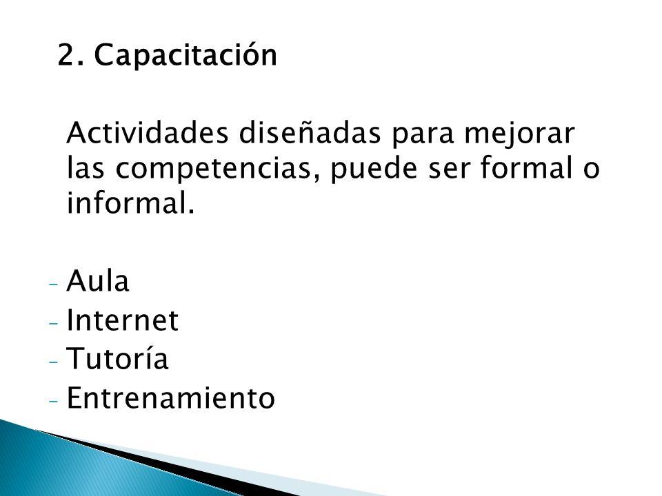 2. Capacitación Actividades diseñadas para mejorar las competencias, puede ser formal o informal.