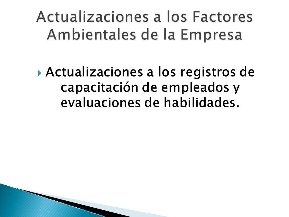 Actualizaciones a los Factores Ambientales de la Empresa