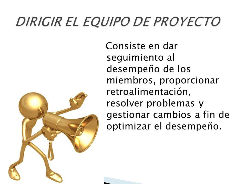 DIRIGIR EL EQUIPO DE PROYECTO
