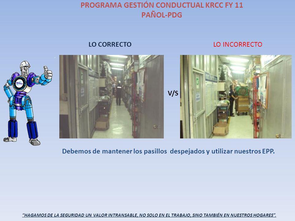 PROGRAMA GESTIÓN CONDUCTUAL KRCC FY 11 PAÑOL-PDG