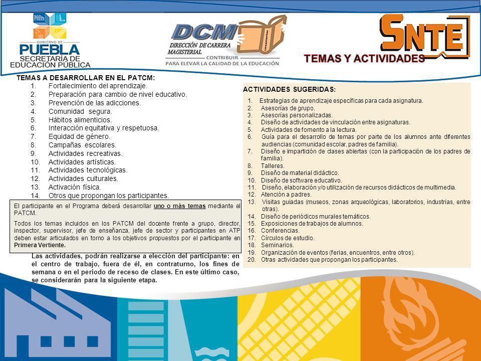 TEMAS Y ACTIVIDADES TEMAS A DESARROLLAR EN EL PATCM: