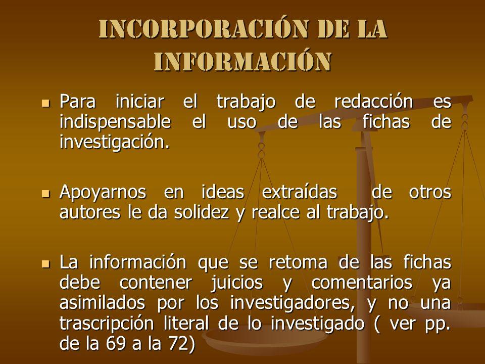 Incorporación de la información