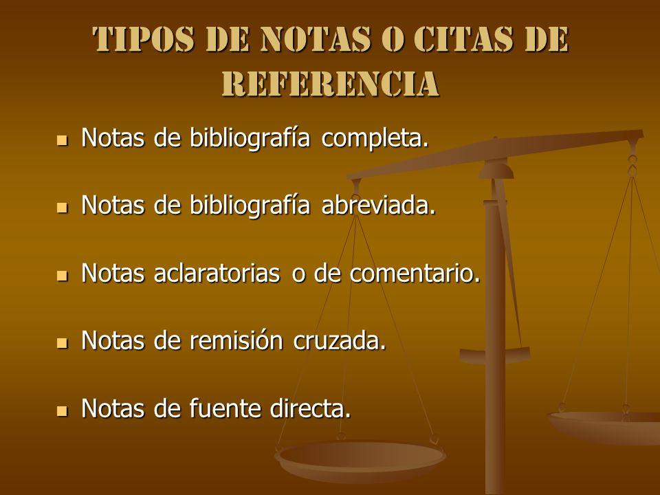 Tipos de notas o Citas de referencia