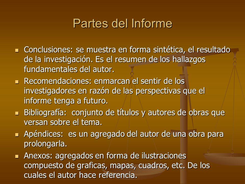 Partes del Informe