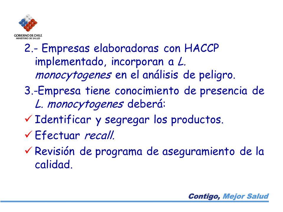 2. - Empresas elaboradoras con HACCP implementado, incorporan a L