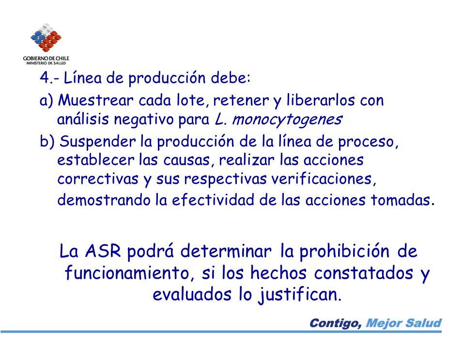 4.- Línea de producción debe: