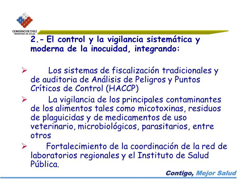 2.- El control y la vigilancia sistemática y moderna de la inocuidad, integrando: