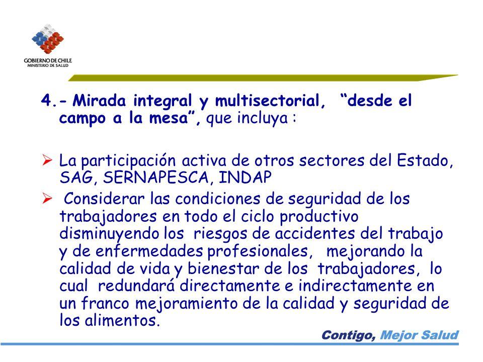 4.- Mirada integral y multisectorial, desde el campo a la mesa , que incluya :