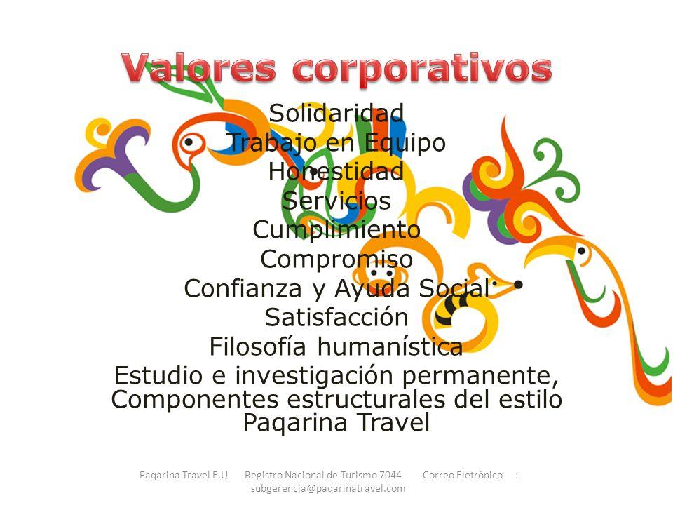 Valores corporativos Solidaridad Trabajo en Equipo Honestidad
