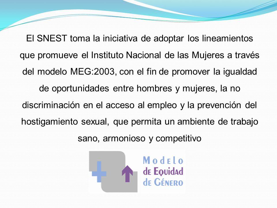 El SNEST toma la iniciativa de adoptar los lineamientos que promueve el Instituto Nacional de las Mujeres a través del modelo MEG:2003, con el fin de promover la igualdad de oportunidades entre hombres y mujeres, la no discriminación en el acceso al empleo y la prevención del hostigamiento sexual, que permita un ambiente de trabajo sano, armonioso y competitivo