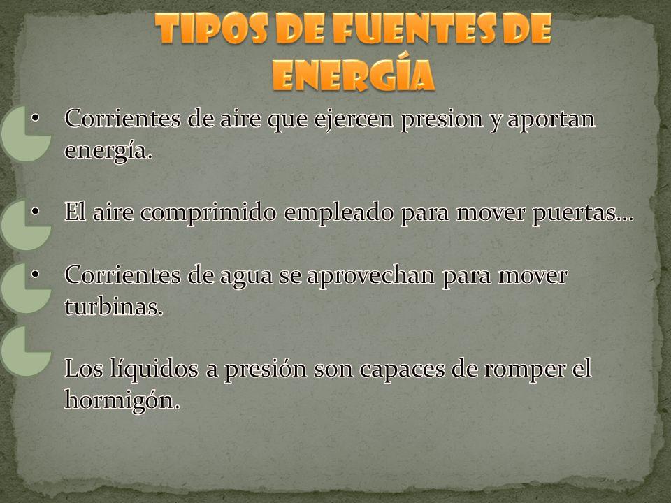 Tipos de fuentes de energía