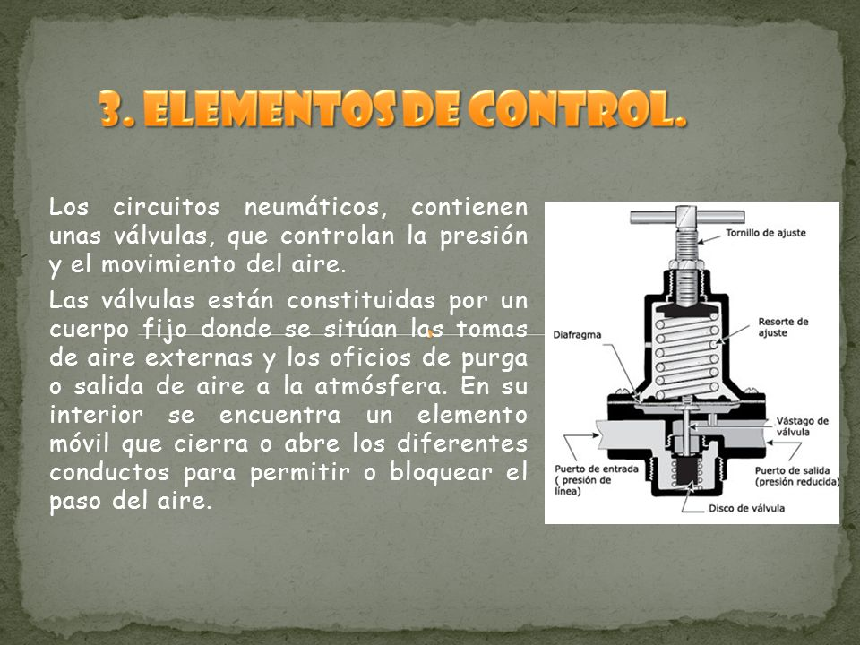 3. Elementos de control. Los circuitos neumáticos, contienen unas válvulas, que controlan la presión y el movimiento del aire.
